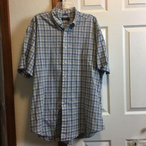 Nautica Short Sleeve Blue & White Plaid Shirt XL